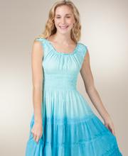 Sleeveless Tiered Sundress - Mid-Length Cotton-Rich Dress in Sky Blue