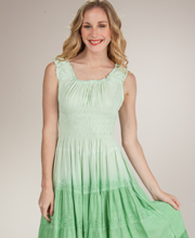 Sleeveless Sundress - Cotton-Rich Tiered Mid-Length Dress - Sage Green