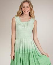 Sleeveless Sundress - Cotton-Rich Tiered Mid-Length Dress - Sage Green