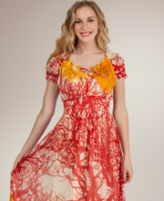 Jessica Taylor Empire Waist Cap Sleeve Plus Dress - Harvest Sunflower