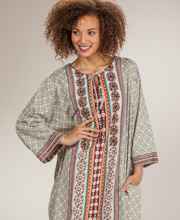 Cotton Caftan Dresses - La Cera Long One Size Caftan in Secret Adobe