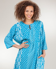 Caftan Dresses - Long La Cera One Size Cotton Caftan in Jewel Dynasty