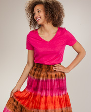 Crinkle Skirt by Peppermint Bay - Tiered Woven Cotton Skirt in Harmony