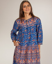 La Cera Cotton 3/4 Sleeve Long Dress - Royal Paisley