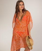 Tunic Top - Semi-Sheer Beach Cover-Up in Aztec Orange