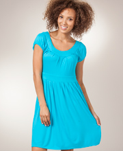 Peppermint Bay Short Sleeve Rayon Knit Dress in Turquoise