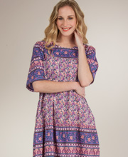 Cotton Dresses - La Cera Short Sleeve Long Dress in Lilac Delight