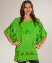 Short Woven Poncho Top - Easy Fit Embroidered Short Caftan - Lime