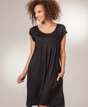La Cera Dresses - Short Sleeve Rayon Knee Length Dress in Black