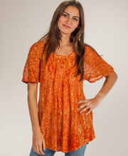 Tie Front Top - One Size Cap Sleeve Tunic Top in Orange