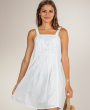Cotton Beach Dresses - Peppermint Bay Sleeveless Dress in Cool White