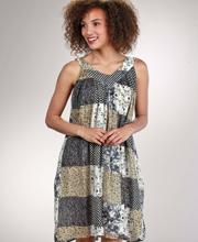 Sleeveless Dress -  Short Length Crinkle Rayon Sundress - Black Patchwork