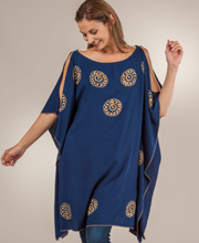 Cold Shoulder Tops - Embroidered One Size Misses Tunic in  Celtic Blue