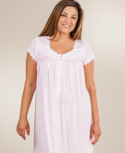 Cap Sleeve Eileen West Cotton-Modal Knit Ballet Gown - Pink Meringue