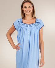 Eileen West Short Cotton Jersey Knit Cap Sleeve Gown - Blue Bella