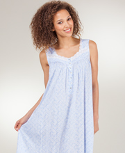 Eileen West Cotton-Modal Knit Sleeveless Mid Nightgown - Blue Meringue