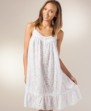 Eileen West Sleeveless Waltz Cotton Blend Nightgown - White Daisy