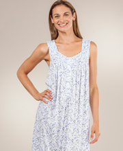 Eileen West Sleeveless Cotton Modal Long Night Gown in Botany Blue
