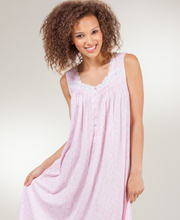 Nightgowns by Eileen West - Mid-Length Cotton-Modal Sleeveless Night Gown - Pink Meringue