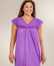 Plus Shadowline Silhouette Flutter Sleeves Long Nightgown - Purple