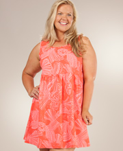Plus Beach Coverup - I Can Too Babydoll Beach Dress - Seashell Fancy in Coral