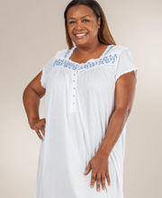 Plus Eileen West - Cap Sleeve Cotton-Modal Knit Nightgown - Wild Cascade