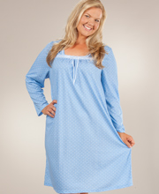 Long Sleeve Plus Nightgown - ''Sweet Dreams'' Cotton Rich in Blue Dot