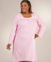Cotton-Rich Plus Gown - ''Sweet Dreams'' Long Sleeve Gown In Pink Dot