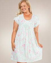 Plus Miss Elaine - Sofiknit Poly-Rayon Knit Short Sleeve Waltz Gown - Mint Blossom
