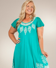 Plus Beach Dress - One Size Cotton Cap Sleeve Dress in Seafoam Charms