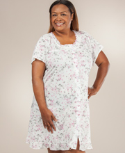 Plus Cotton-Rich Gown - Short Sleeve Button-Front in Pink Reflection