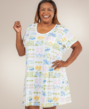 Plus Cotton Nightshirt - Carole Hochman Short Sleeve Knit Sleepshirt in Potpourri
