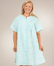 Plus Size Robe - Miss Elaine Snap Front Short Robe - Floral Mint