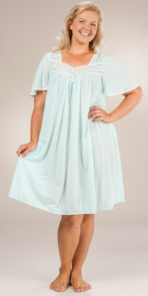 Plus Miss Elaine Silk Essence Flutter Sleeve Waltz Gown in Aqua & Pink