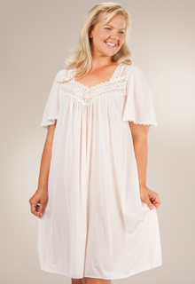 plus silk essence nightgown Miss Elaine blue pink