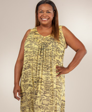 Sleeveless Plus Dress - Cotton One Size Maxi Beach Dress - Yellow Sands