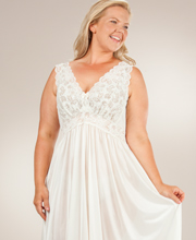 Plus Shadowline Silhouette Sleeveless Long Nightgown - Ivory