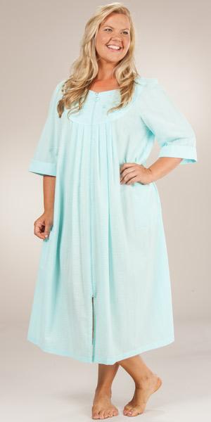foto de Plus Long Seersucker Robes Miss Elaine Mint Zip Front