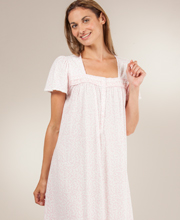 Aria Gowns - Short Sleeve Cotton Rich Ballet Nightgown in Fairy Vines