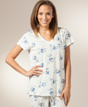Carole Hochman 100% Cotton Short Sleeve Pajama Set - Nantucket Shower