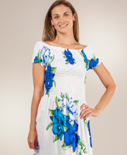 Smocked Long Dress - Short Sleeve One Size Rayon White Dress in Roseau