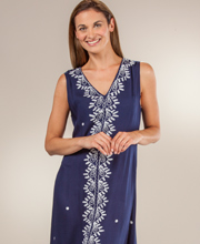 Sleeveless Maxi Dress - 100% Rayon V-Neck Dress in Embroidered Navy