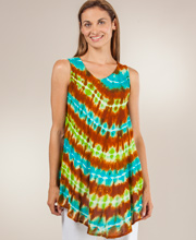 Tie Dye Top - One Size Sleeveless Tunic Top in Mellow
