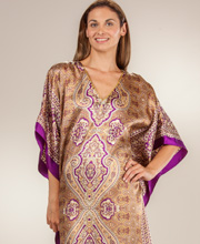 Charmeuse Satin Caftans - One Size Fits Most Kaftan in Violet Majesty