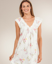 Carole Hochman Nightgowns - Long Cotton Knit V-Neck in Delicate Sachet