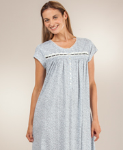 Eileen West Pima Cotton Knit Cap Sleeve Nightgown in Antique Ditsy