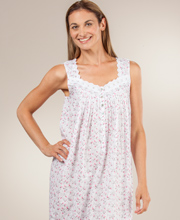 Eileen West Nightgowns - Cotton Lawn Sleeveless Ballet in Misty Roses