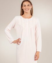 Miss Elaine Nightgowns - Cuddleknit Rounded Neck Long Gown in Peach