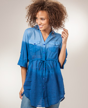 Easy Fit Cotton Top - Roll Sleeve Oversized Tunic - Blue Ombre
