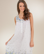 La Cera Nightgown - Sleeveless Long Cotton Lawn Gown - Wildflower Bleu